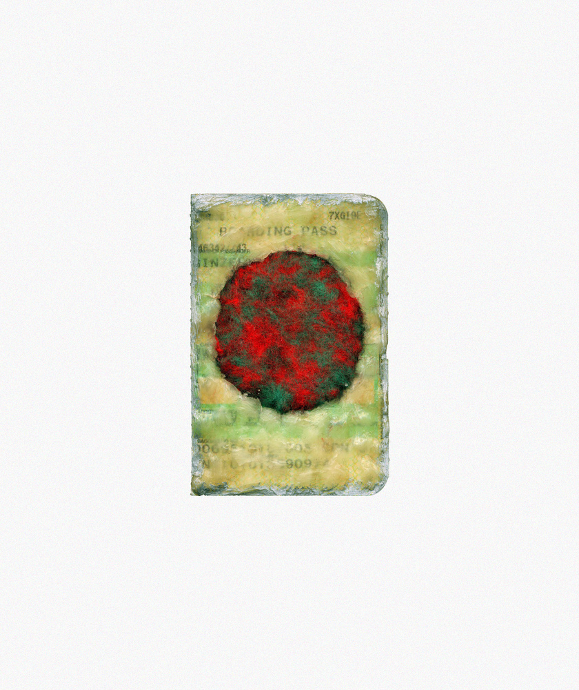Nicola Ginzel  Selected Transformed Objects boarding pass ticket stub, wax, felt, thread, oil pastel