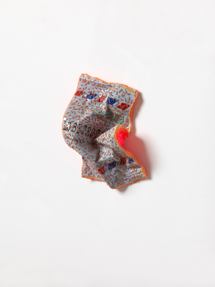 Nicola Ginzel  Selected Transformed Objects plastic wrapper, ink, thread, ribbon, silicon