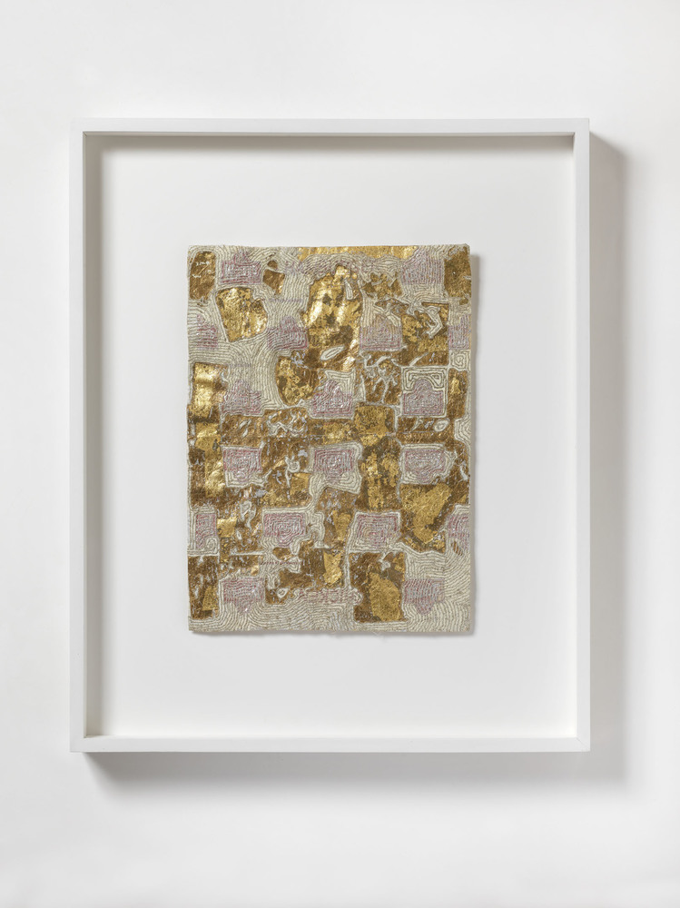 Nicola Ginzel  ARTWORK  overview Wendy's Chicken Wrapper, 23 K Gold, embroidered with metallic thread by hand, oil paint
