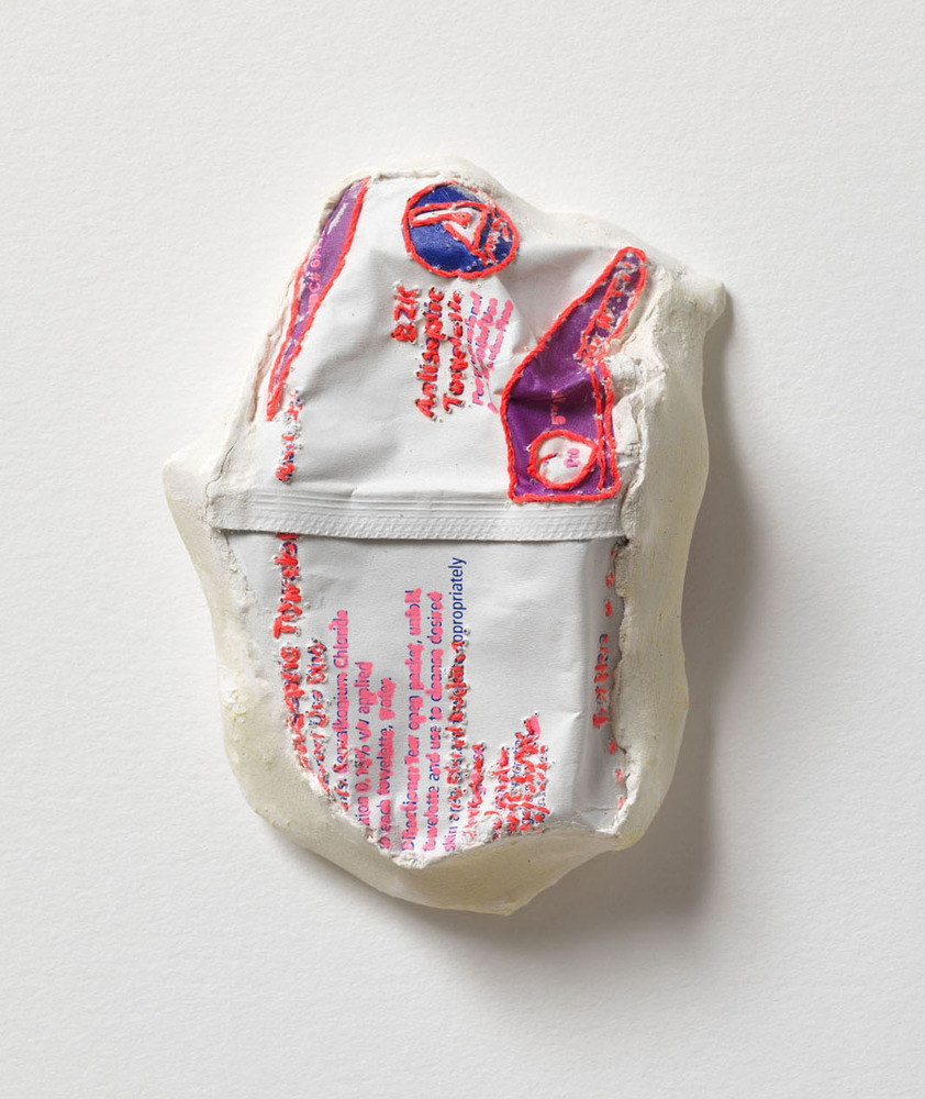 Nicola Ginzel  Selected Transformed Objects Sterile pad embroidered with thread, backed with fabric, ink, plaster