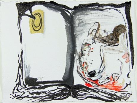 Nicole Ouellette Open Book Fracture Ink and sumi watercolor on paper
