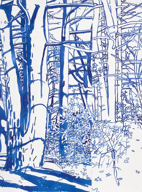 Niels Burger Black and Blue ink on paper