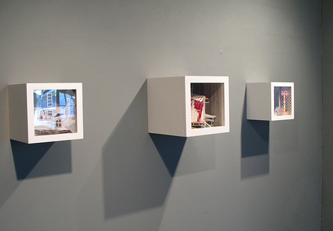 "Dimensional drawings ""Climb,"" ""Home,"" and ""Copse"" installed for the exhibition ""Neon Planar"" at Civilian Art Projects"