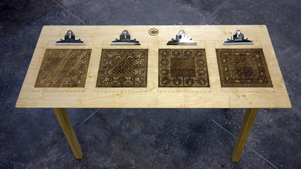NOAH BREUER Carl Breuer and Sons Engraved Plywood, Clipboard Clips
