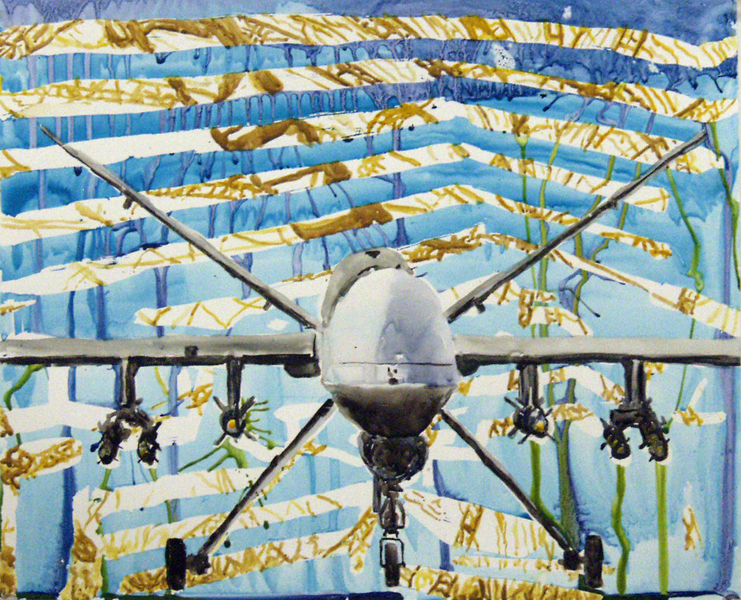 Searching Soldiers Drone Painting