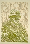 Searching Soldiers Woodcut and Silkscreen