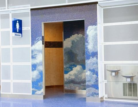"""CLOUDSCAPES"" Jacksonville, Fl. International Airport Venetian Glass Mosaic Tile"