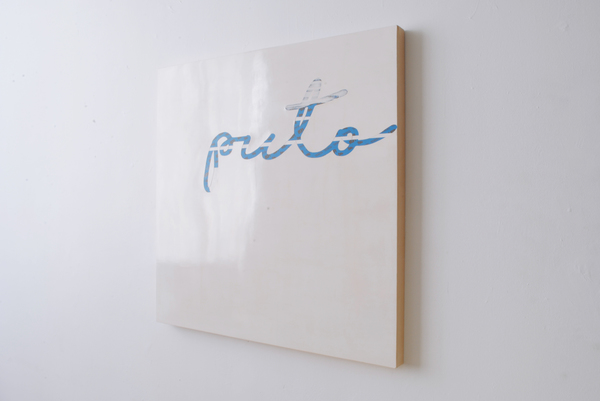 #OLIVIEPONCE  Words Venetian plaster and blue tape on wood panel