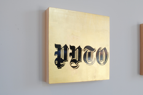 #OLIVIEPONCE  Words Gold leaf and paint on wood panel