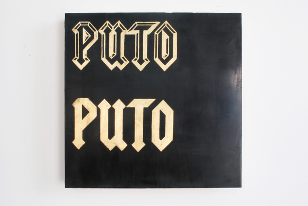 #OLIVIEPONCE  Words Venetia plaster and gold leaf on wood panel