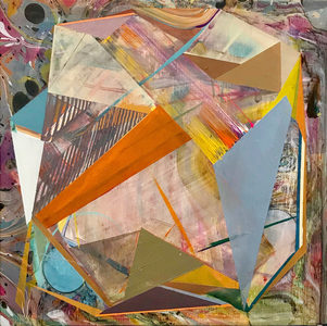 Jenniffer Omaitz Marbled Geometry Acrylic and gouache on Panel