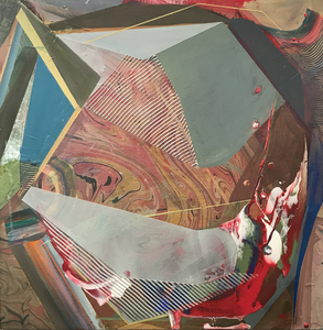 Jenniffer Omaitz Marbled Geometry Acrylic and Gouache on Marbled wood panel