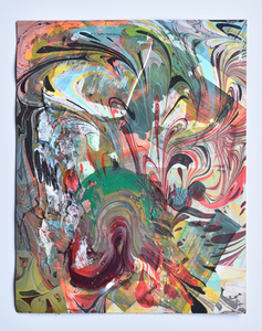 Jenniffer Omaitz Marbled Geometry Marbling, acrylic paint on paper