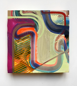 Jenniffer Omaitz Studio Relief Series (studio support sale) Acrylic and Gouache on Panel