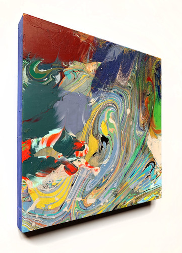 Jenniffer Omaitz Marbled Geometry Latex paint and single dip of marbled surface directly on panel