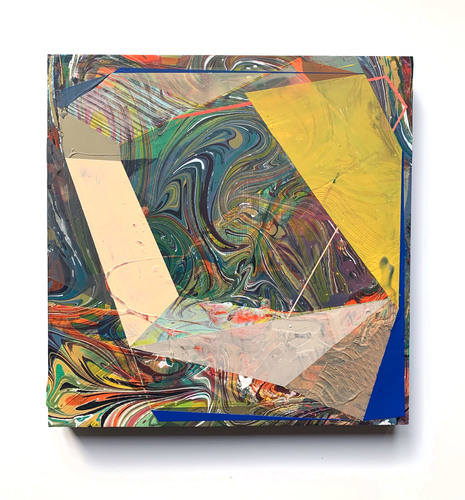 Jenniffer Omaitz Marbled Geometry Acrylic and marbled surface on panel