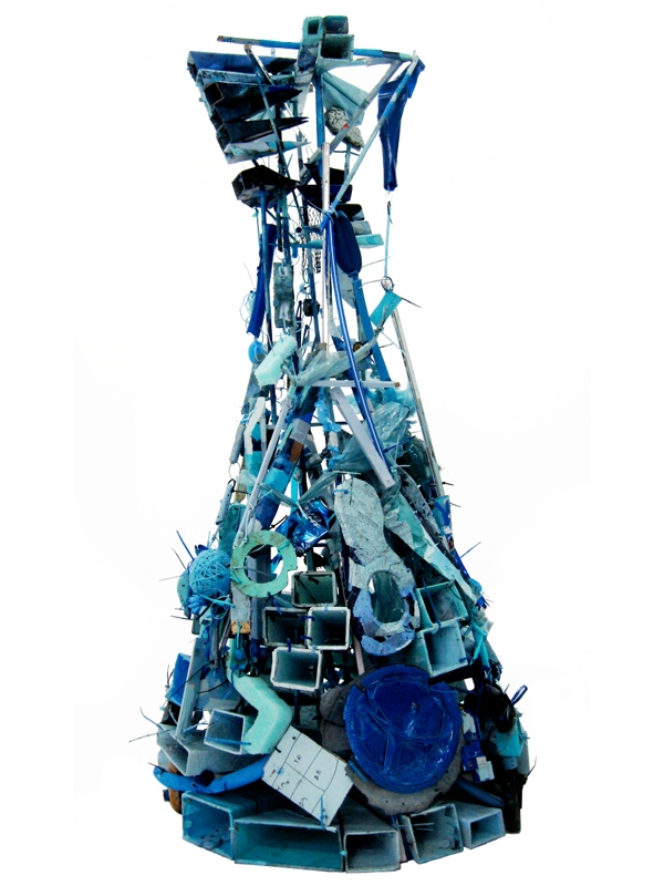 Paul Baumann taxonomy #17 (blue) Horizons found objects and mixed media