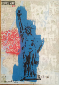 "Palette ArtSpace Fabrika Ouch ""Pricey Fun""  4/20-5/29/16 Mixed media on NY Bike Map"