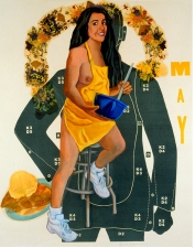 Pamela Joseph CALENDAR GIRLS Oils and heat transfer on shooting target