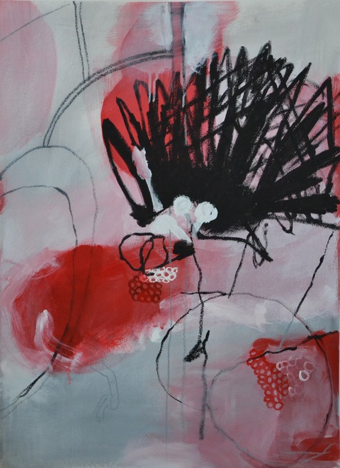 PAMELA STODDART Red, White & Black acrylic/ink/oil pastel on paper