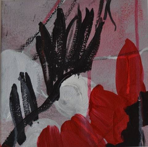 PAMELA STODDART Red, White & Black Acrylic/Ink/Oil Pastel