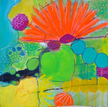 PAMELA STODDART Daisy Series Acrylic/Ink/Oil Pastel on Canvas