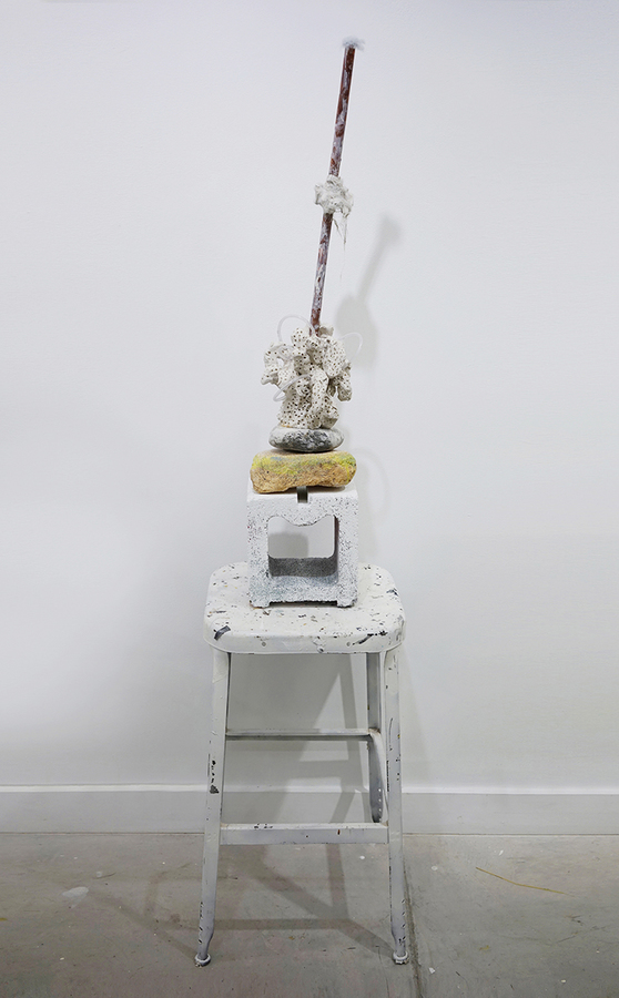 EunJung Park 2014-15 Metal, clay, stone, stool, fur, acrylic paint