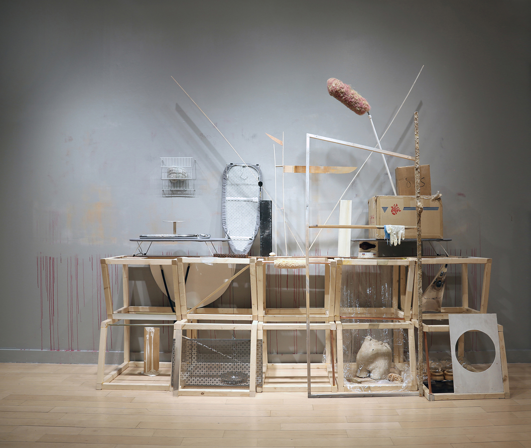 EunJung Park 2014-15 Swiffer, ironing board, box, zipper, clay, wax, plaster, steel, mirror paper, wood, dart pin, oil on paper.