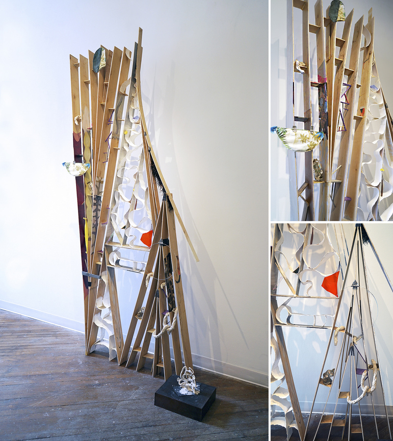 EunJung Park Installation Fabric, wire, wood, fur, stained glass, clay, duct tape, paper, acrylic paint, magazine