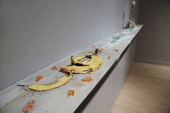 EunJung Park Installation Banana, tangerine, oil, glass, clay, copper, wood