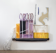 EunJung Park Installation Plaster, aluminum, wood, acrylic paint, carboard, fabric, extruded polystyrene