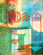 PAT CRESSON + Printmaking > Gelatin Monoprints Gelatin Monoprint and