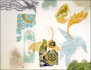 PAT CRESSON + Fine Art Work > Intaglio Prints Intaglio, digital image, drypoint and colored pencil