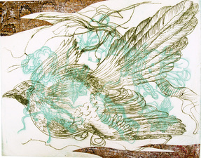 PAT CRESSON + Fine Art Work > Intaglio Prints Collograph and plexiglass etching on rice paper with chine colle´