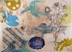PAT CRESSON + Recent  Work > Movable Monoprints oil and chine collie´ collograph monoprint