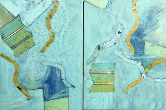 PAT CRESSON +  Recent Work > Oil/Wax Painting on Wood Panels diptych, oil/wax on wood panel
