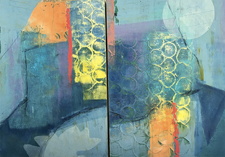 PAT CRESSON +  Recent Work > Oil/Wax Painting on Wood Panels diptych, oil and cold wax on panel