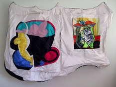 Patricia Dahlman Sculptures canvas, cloth, ribbon, thread, wire, stuffing
