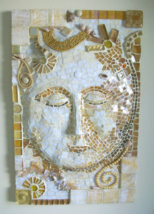 Patricia Rockwood Mosaics: Selected Corporate & Private Commissions Stained glass, glass tile, onyx, pearls, shells, beads, found objects, on wood
