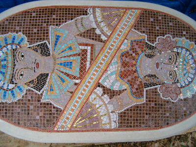 Patricia Rockwood Mosaics: Selected Corporate & Private Commissions Glass and ceramic tile, gold tile, glass gems, on stone