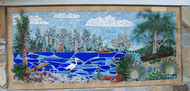 Patricia Rockwood Mosaics: Selected Corporate & Private Commissions Ceramic tile, stained glass, found objects, on wood