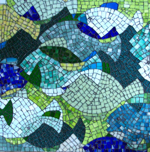 Patricia Rockwood Mosaics: Panels Stained glass, millefiori, on wood