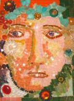 Patricia Rockwood Mosaics: Panels Glass and ceramic tile, sea glass, found objects, beads, on wood