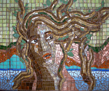 Patricia Rockwood Mosaics: Panels Glass tile on wood