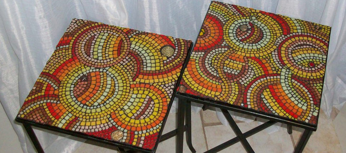 Patricia Rockwood Mosaics: Objects Glass tile, found objects, on wrought iron tabletops