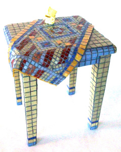 Patricia Rockwood Mosaics: Objects Glass tile on wood