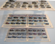 Pat Shannon Sections cut newspaper, acrylic gel, plexi shelves