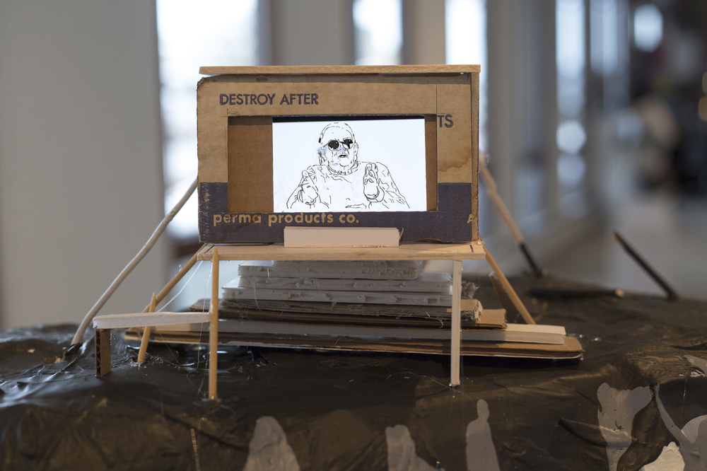 Patte Loper 2014 Your Rivers, Your Margins, Your Diminutive Villages Animated video, iPod, balsa wood, foam core, cardboard, paint