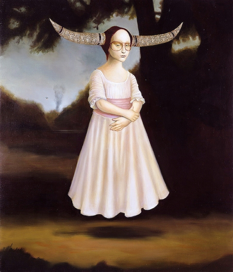 Patte Loper 2002 Monster  oil on linen on panel