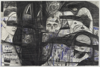 Paul Brainard Drawings pencil on drawing collage on paper